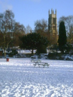 St. George's Park in Kidderminster in the snow