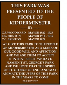 Text of the original plaque from St. George's Park, Kidderminster