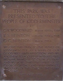 Photograph of the original plaque that was installed in St. George's Park in 1927